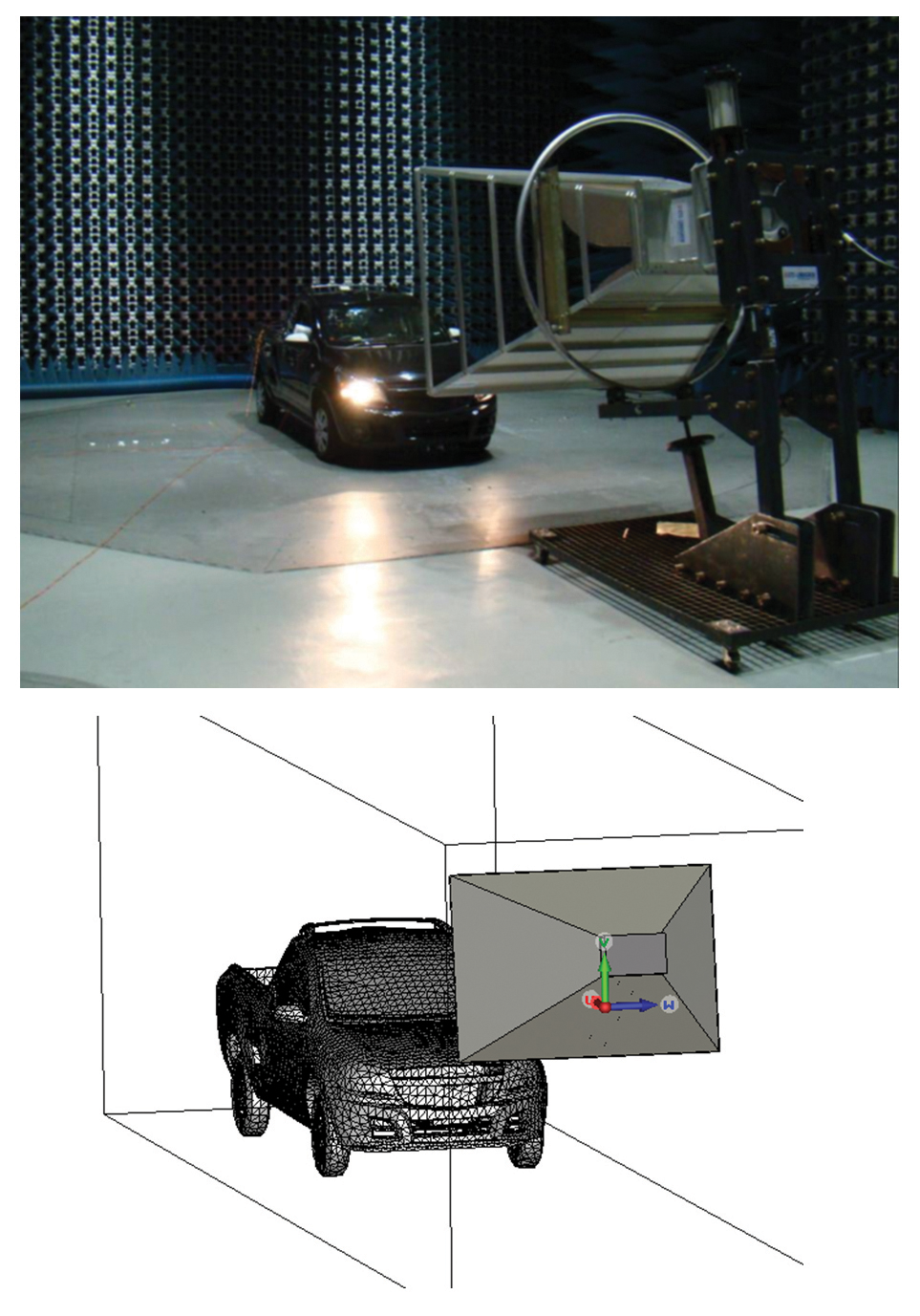 Figure10: (Top) Laboratory evaluation and (bottom) electromagnetic modeling.