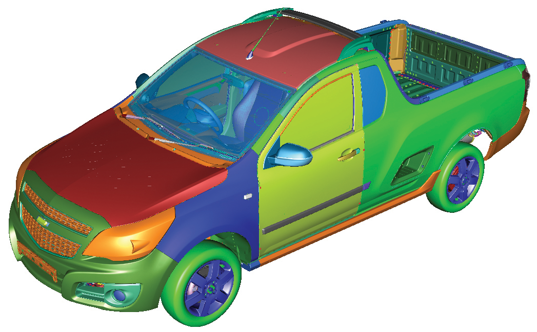 Figure3: Mechanical CAD model. The colors represent different sub-projects that are later integrated to compose the entire product.