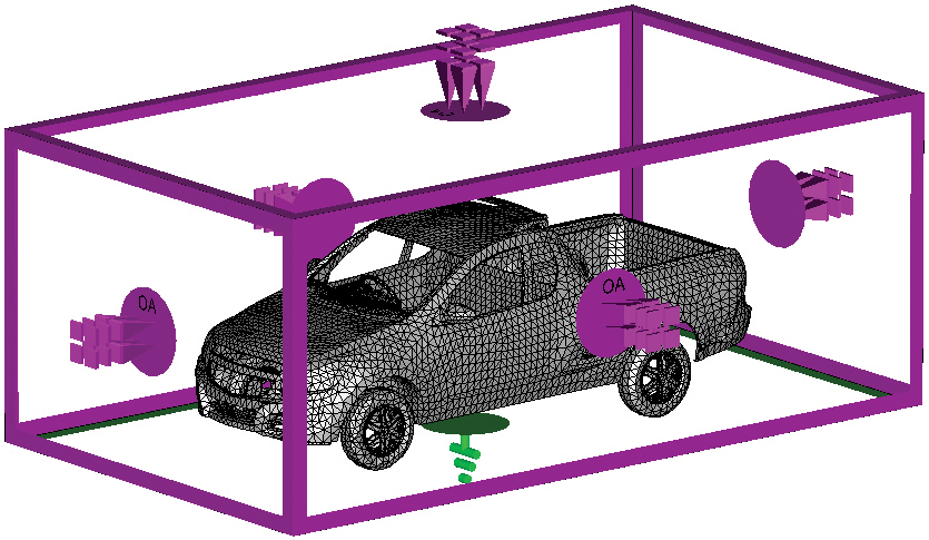 Figure5: CST model with boundary conditions. The purple color represents absorbing condition and the green the metallic floor.