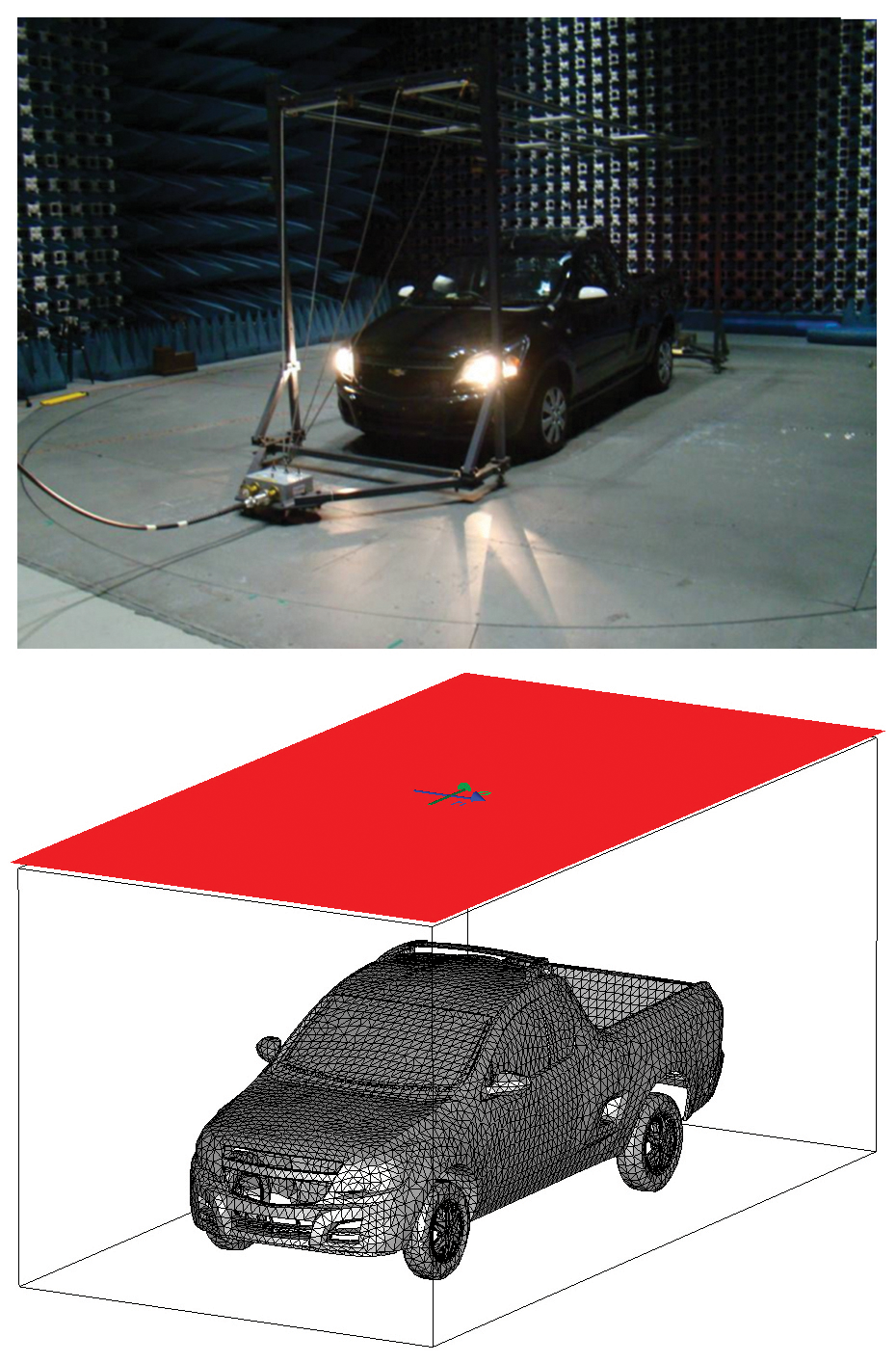 Figure7: (Top) Vehicle in the semi anechoic chamber excited by a stripline antenna and (bottom) its electromagnetic modeling.