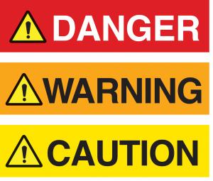 Figure 1: ANSI Z535 signal word panels  for hazard alerting labels