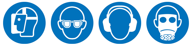 """Figure 3: Current ISO symbols for """"Wear Face Shield,"""" """"Wear Eye Protection,"""" """"Wear Ear Protection,"""" and """"Wear Respiratory Protection""""."""