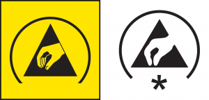 Figure 2: The ESD protective symbol from ANSI S8.1 (at left) and the IEC packaging version of the symbol from IEC 60417 (at right). The '*' in the IEC symbol is for the letter code to be added.
