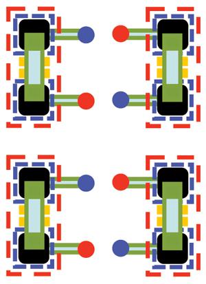 Figure7: Decoupling capacitor doublet with alternating vias