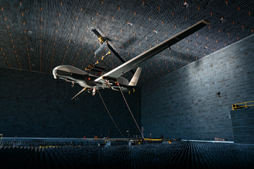 unmanned aircraft in anechoic chamber