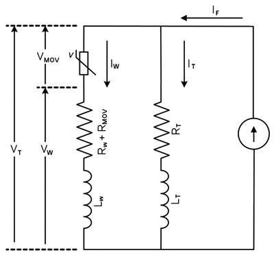 Figure4: Equivalent circuit of tower and POWER feed