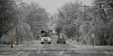 power lines in ice storm