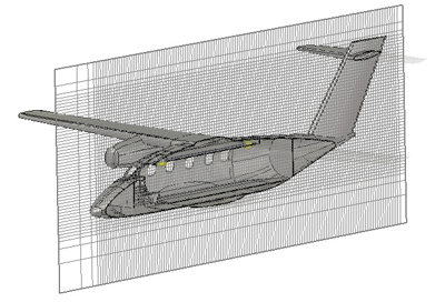 Figure10: Modified EV55 aircraft: Structured hexahedral mesh