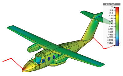 Figure18: Modified EV55 aircraft: Surface current density at 1 kHz for current waveform A injection at the aircraft nose in Figure17.