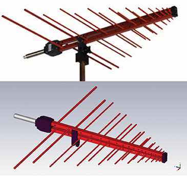Figure11: A picture of the measured LPDA antenna and the numerical model geometry