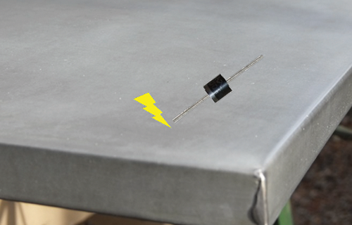 Figure 6: Solar PV module diode drops onto grounded metal surface