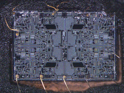 Decapsulated component showing internal die and wire bond structures