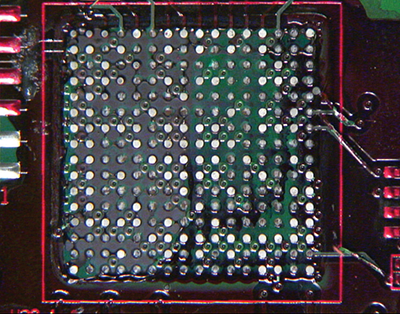 BGA component location on a printed circuit assembly, post Dye-n-Pry test