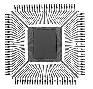 2D X-Ray image of quad flat pack (QFP) component