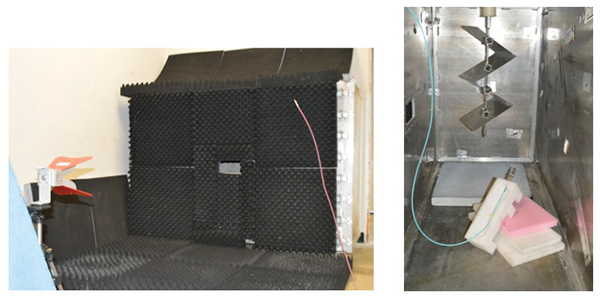 Figure 2: Test enclosure external (left) and internal (right)