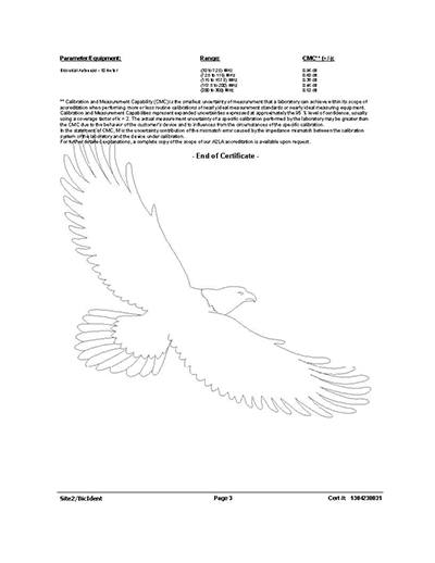 Figure5: Third page of a sample antenna calibration certificate