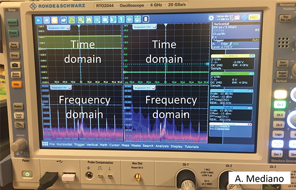 Figure2: An example of a 4 channels R&S RTO 4GHz scope with powerful FFT capabilities, where a digital clock signal (left) versus a burst signal (right) are compared in my lab. Note the difference in narrow or broadband behavior.