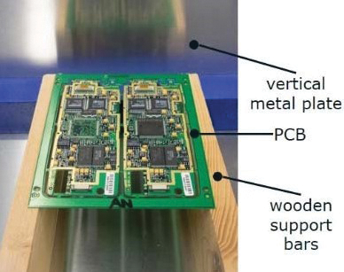Figure15: PCB supported by two wooden bars to simulate conveyor transport in front of a charged plane.