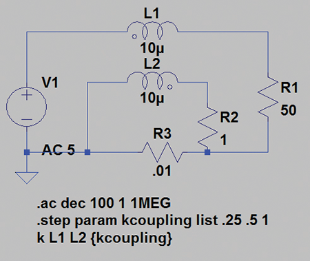 Figure16: SPICE simulation showing the step command parameterizing the mutual inductance between L1 and L2
