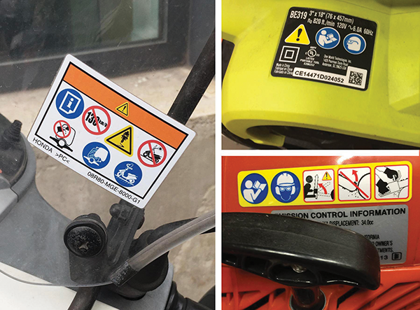 """Figure 1: Examples of symbol-only """"no text"""" safety label formats: at left, a label on a scooter taken in Italy; at right, labels on consumer products (a portable sander, at top, and a chainsaw, at bottom) in the U.S."""