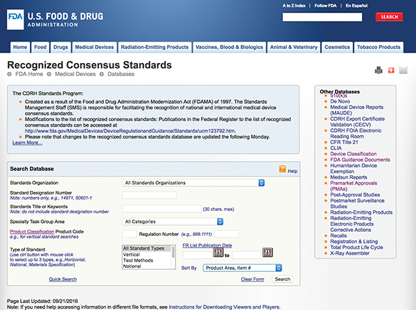 Figure11: Different ways to search the FDA's Recognized Consensus Standards database