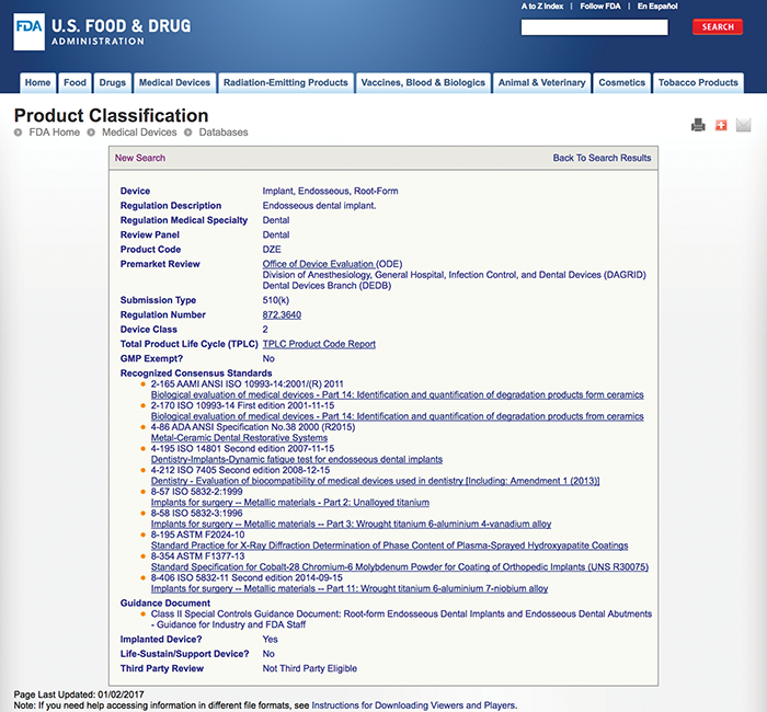Figure2:  FDA regulatory information for product code DZE (including guidance and standards)