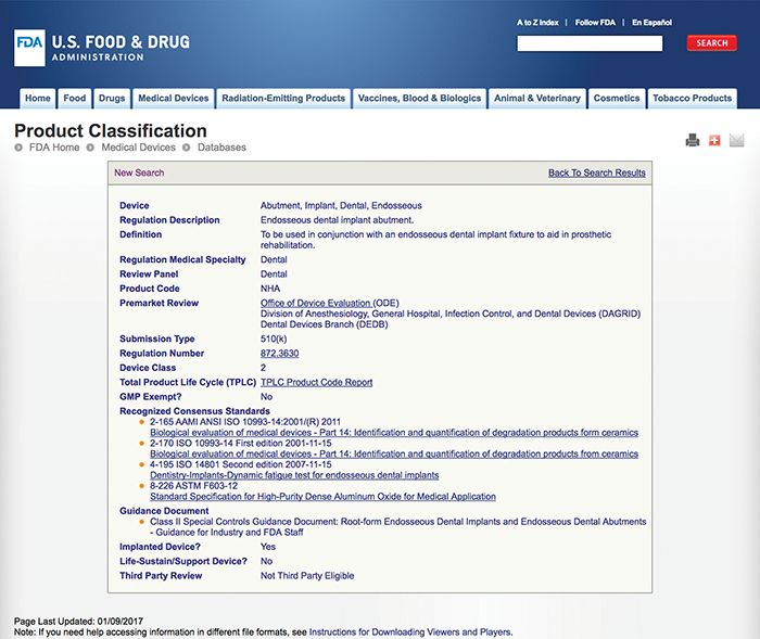 Figure3: Product Classification database search for a dental abutment (NHA)
