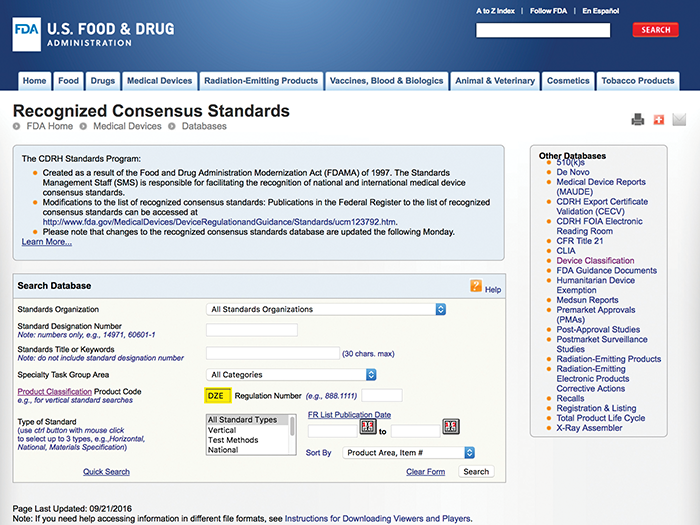 Figure4: Recognized consensus standards database search for an endosseous dental implant (DZE)