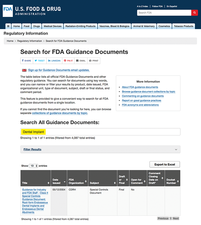 """Figure6: Guidance document database search for """"Dental Implant"""""""