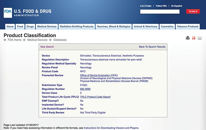Figure7: FDA regulatory information for product code NFO