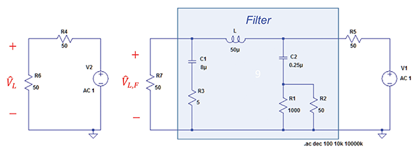 Figure7: Circuits used to define the insertion loss of the LISN as a filter