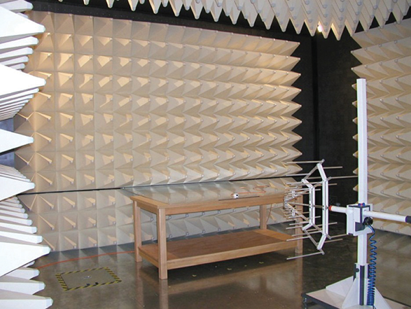 Figure 1: Typical testing chamber, with special conical tiles to stop reflections